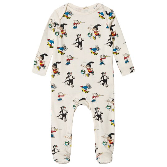 Stella McCartney Kids White Ruffus Footed Baby Body with Dandy Print 9089 - Dandy Pr