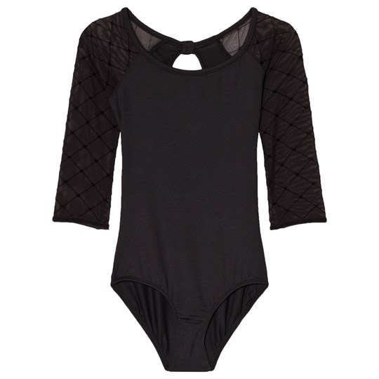 Bloch Selene Black Diamond Heart Flocked Mesh 3/4 Sleeve Keyhole Back Leotard Black