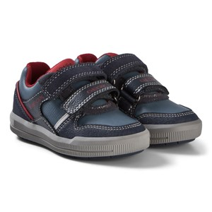Image of Geox Blue and Red Junior Arzach Suede Velcro Trainers 34 (UK 2) (3056087173)
