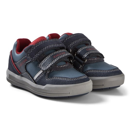 Geox Blue and Red Junior Arzach Suede Velcro Trainers C0735