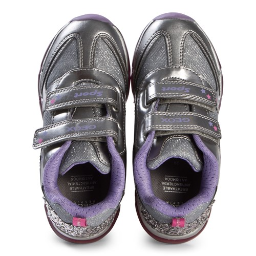 Imperial al límite Ernest Shackleton  Geox - Silver and Purple Glitter Rainbow Velcro Light Up Android Trainers -  Babyshop.com