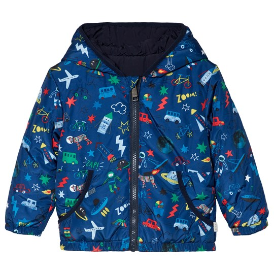 Paul Smith Junior Blue and Navy All Over Multi Print Reversible Puffer Coat Navy