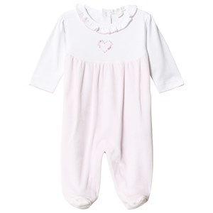 Image of Kissy Kissy Pink and White Rose Heart Footed Baby Body 3-6 months (3065537037)