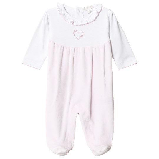 Kissy Kissy Pink and White Rose Heart Footed Baby Body PINK PREMIER ROSE