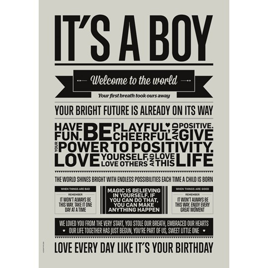 I Love My Type It's a Boy Print Pale Grey A3 Pale Grey
