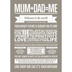 Image of I Love My Type Mum + Dad = Me Print Sand 50 x 70 (3031534193)