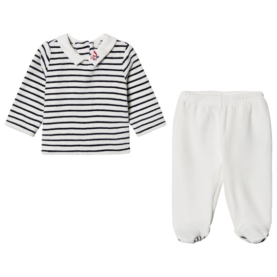 Cyrillus White & Navy Stripe Velour Tee and Pants 6398