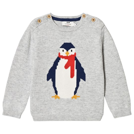Cyrillus Grey Happy Penguin Knit Sweater 6423