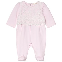 Mintini Baby Pink Footed Baby Body with White Embroidary