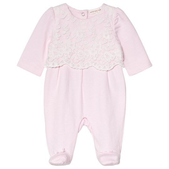 Mintini Baby Pink Footed Baby Body with White Embroidary Pink