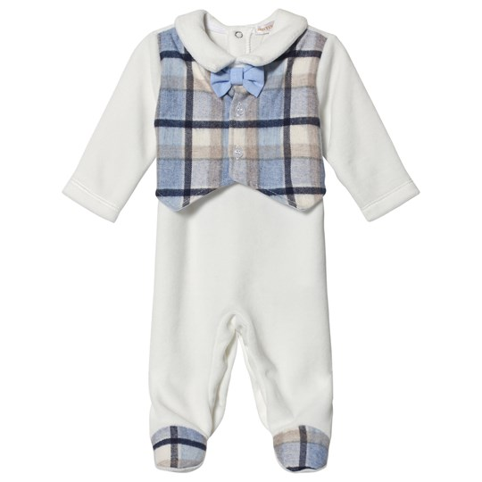 Mintini Baby White Footed Baby Body with Blue Check Print White/Blue