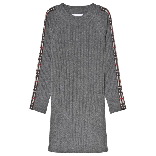 Burberry Mid Grey Melange Check Detail Dress Mid Grey Melange
