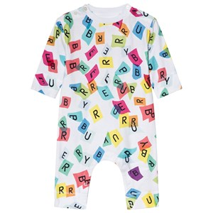 Image of Burberry Confetti Letter Print One-Piece White 3 months (3059478101)