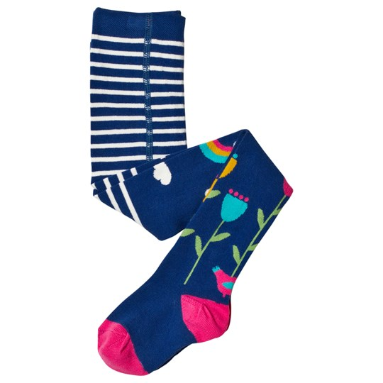 Frugi Floral Stripe Tights Navy/White Perfect Day_AW18