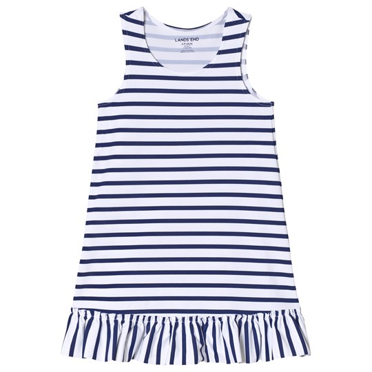 Lands' End White and Blue Striped Swim Dress 7IG
