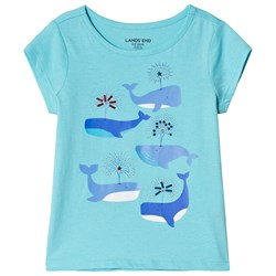 Lands' End Whales Embellished Graphic Tee Blue