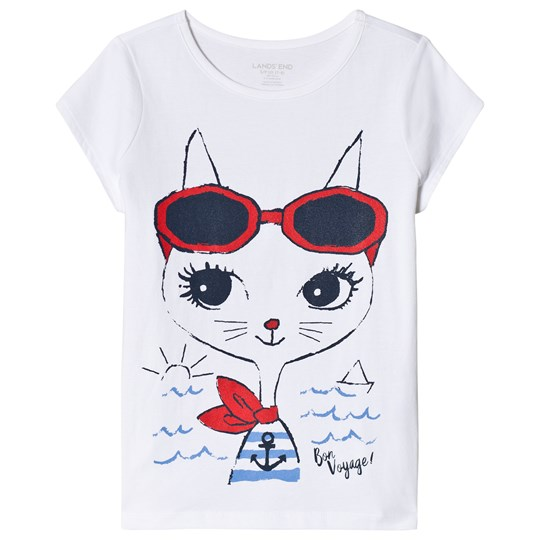 Lands' End Travel Kitten Graphic Tee White 8BH