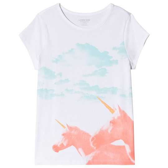 Lands' End Unicorn Graphic Tee White TV3