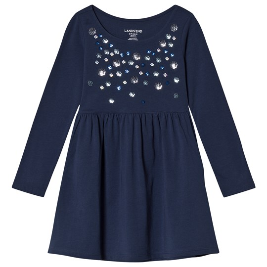 Lands' End Shining Multi Flowers Jersey Dress 6R8