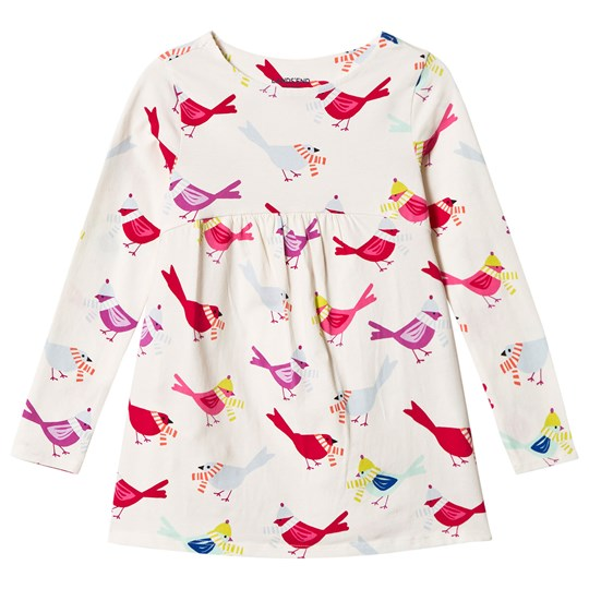Lands' End White Gathered Bird Print Tunic 6Q2