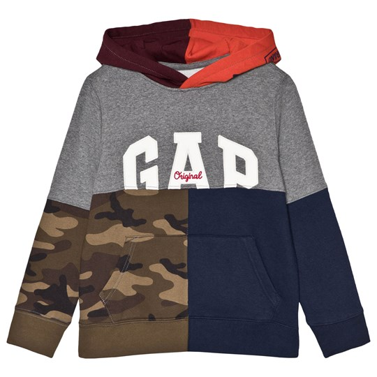 GAP Block Colour and Camouflage Print Hoodie Flame