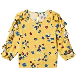 Image of United Colors of Benetton Mustard Floral Shirt with Ruffles 11/12Y (2XL 160cm) (1215896)