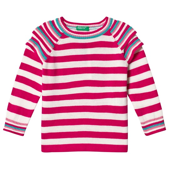 United Colors of Benetton Raspberry Pink Stripe Sweater Rasberry