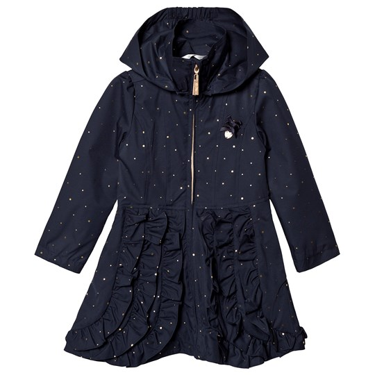 Le Chic Navy Dotted and Ruffled Coat 190