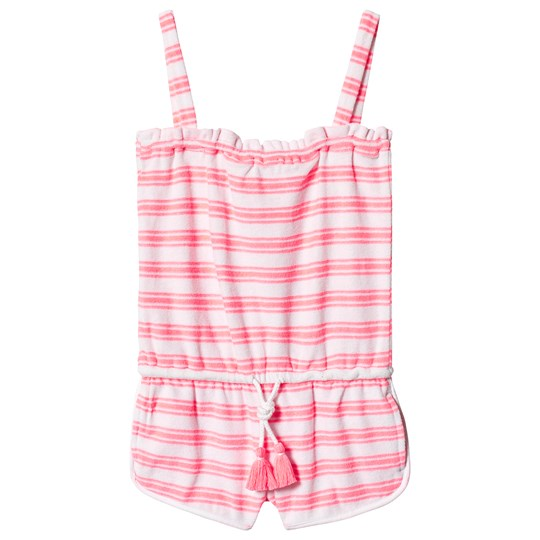 Sunuva Pink and White Stripe Terry Romper Pink