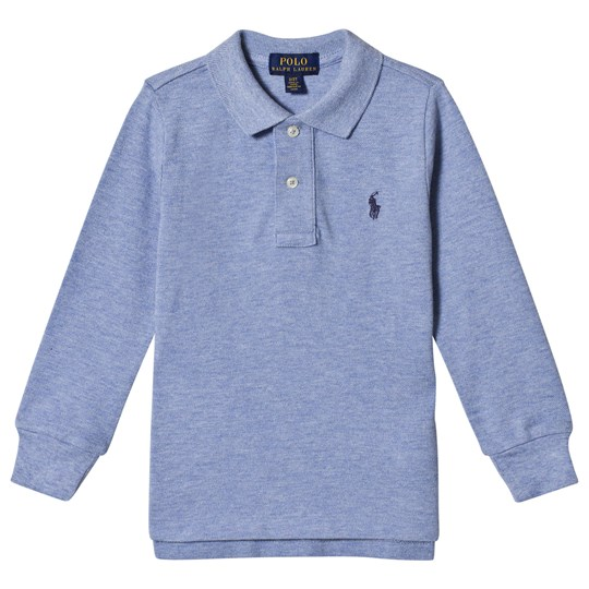 Ralph Lauren Branded Long Sleeve Polo Blue Heather 008