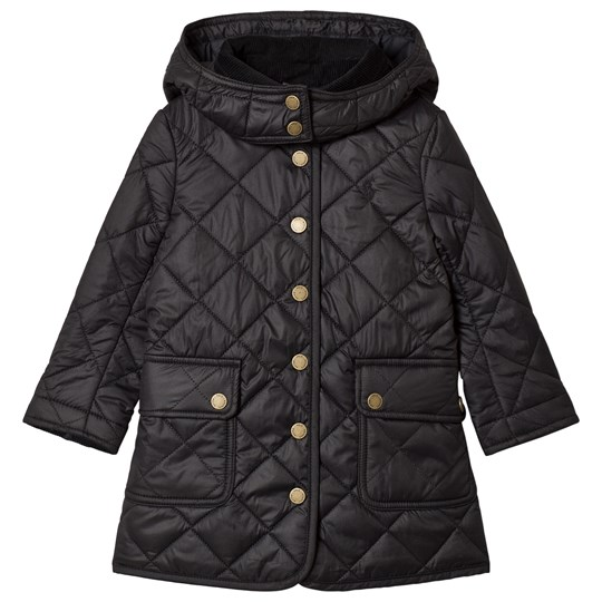 Ralph Lauren Black Long Line Quilted Barn Jacket with Detachable Hood 002
