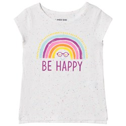 Lands' End White Be Happy Rainbow Tee