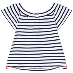 Lands' End Navy and White Striped Top