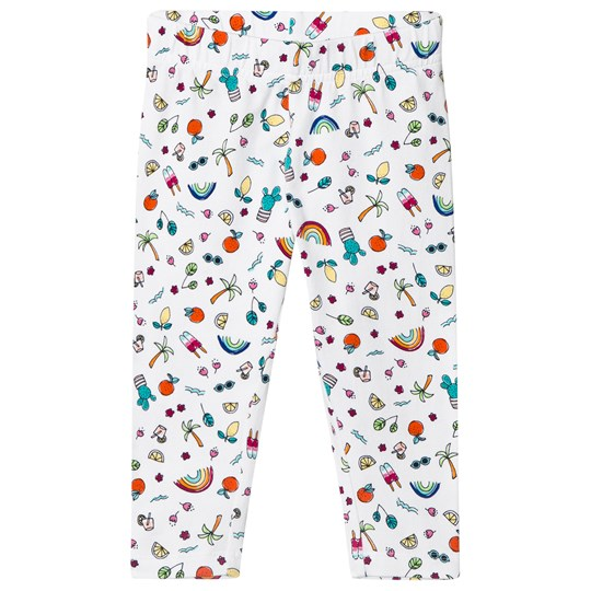 Lands' End Mini Doodle Cropped Leggings White 8AD