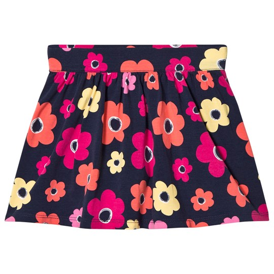 Lands' End Multi flower Gathered Pattern Skirt Navy 8AE