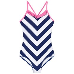 Lands' End Navy and White Striped UPF50 Swimsuit with Pink Frill
