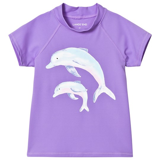 Lands' End Purple Dolphin Graphic Rash Guard Purple