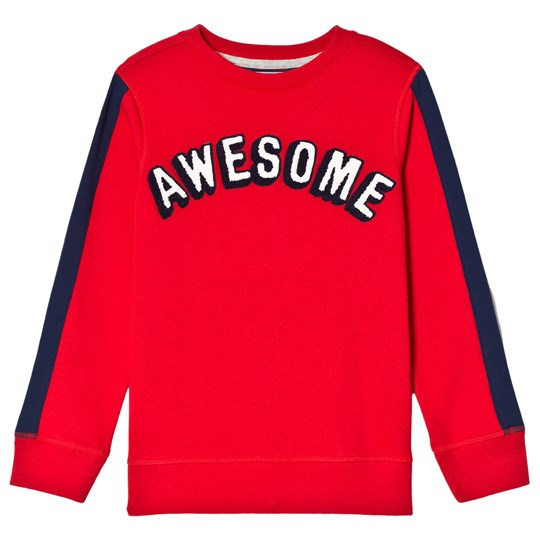 Lands' End Red Awesome Graphic Crew Sweatshirt with Navy Stripe Sleeve BRC