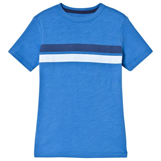 Lands' End Blue Short Sleeve T-Shirt with Double Stripe 3Y3