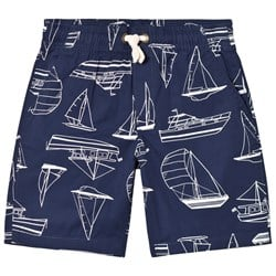 Lands' End Navy Boat Print Pull On Shorts