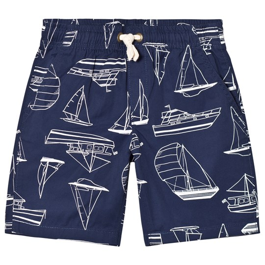 Lands' End Navy Boat Print Pull On Shorts 7L6