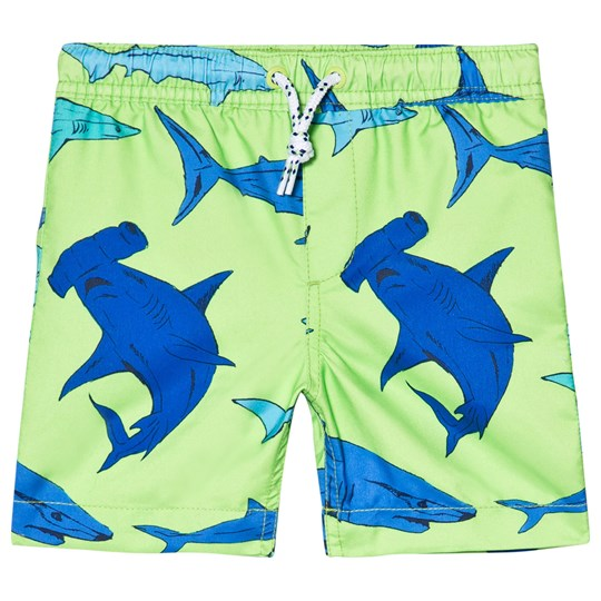 Lands' End Green Shark Print Swim Trunks 7JT