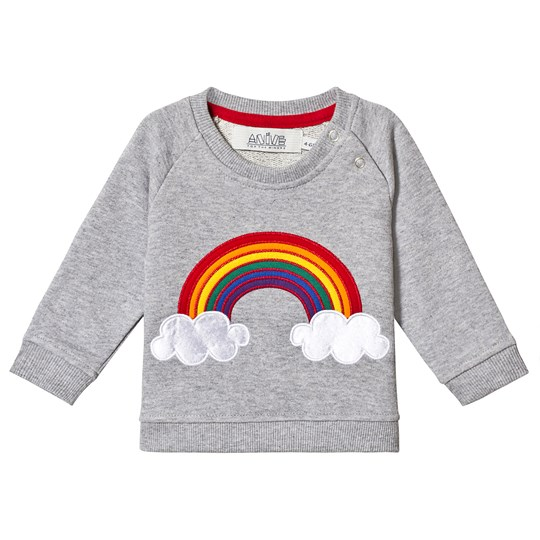 Anïve For The Minors Grey Rainbow Baby Tröja GRAY MARL WITH APPLIQUE AND PRINT
