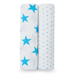 Aden + Anais 2-Pack Fluro Blue Star Classic Swaddles