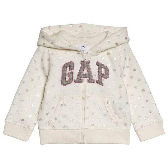 GAP Cream Shimmer Hearts Hoodie HEARTS