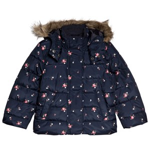Image of GAP Navy Uniform Floral Padded Coat XL (12-13 år) (1199476)