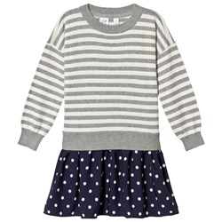 GAP Grey and Navy Stripes & Spots Dress