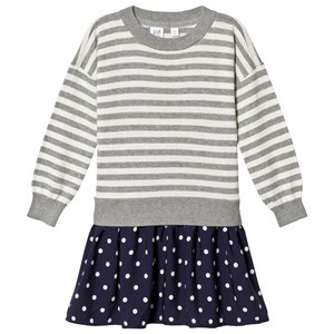 Image of GAP Grey and Navy Stripes & Spots Dress XXL (14 år) (1199833)
