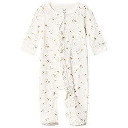 GAP White & Gold Heart Print Footed Baby Body