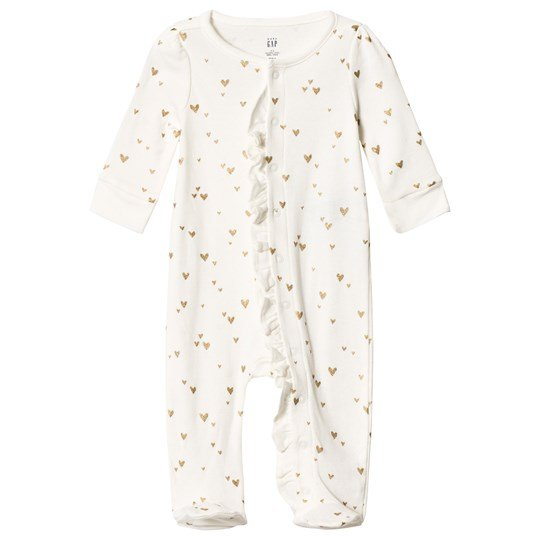 GAP White & Gold Heart Print Footed Baby Body IVORY FROST
